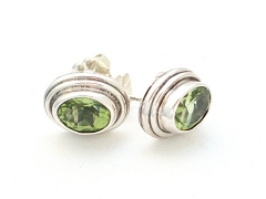 Faceted Peridot stud earrings