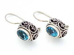 deep set blue topaz wire earrings