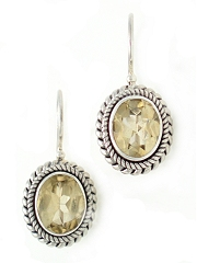 suarti citrine drop wire earrings