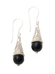 Suarti black onyx cone earrings