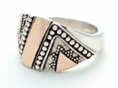 Zig-zag Silver and Gold Ring