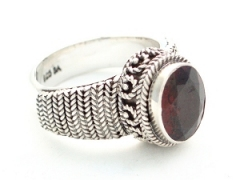 Faceted Garnet Silver Ring